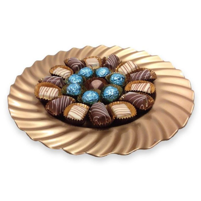 Gold platter with chocolates